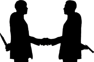 52302101-Concept-of-business-betrayal-Silhouette-of-two-businessmen-shaking--Stock-Photo